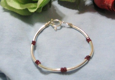 Bracelet made with small rubies