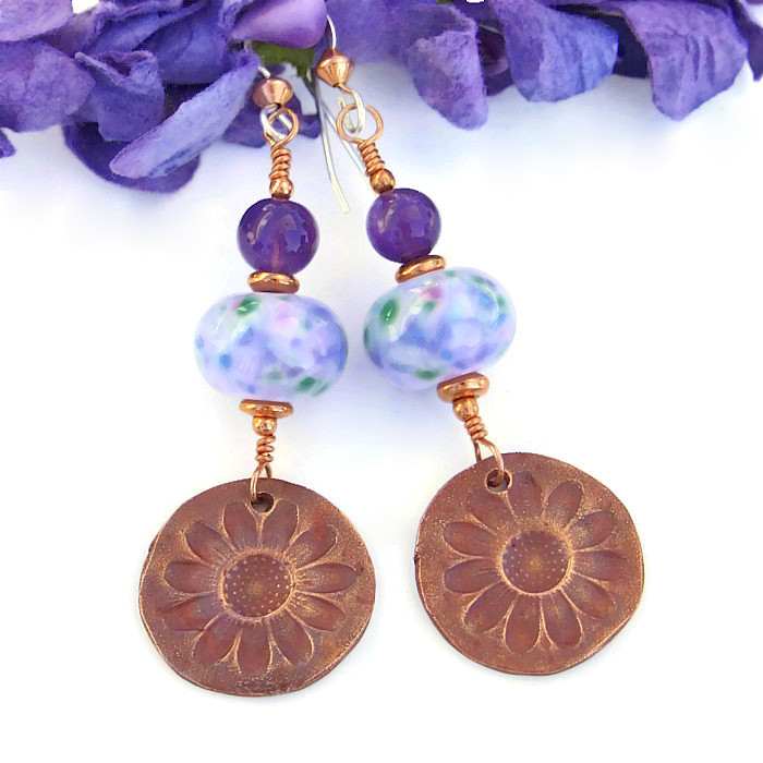 """Violeta"" Copper Daisies Earrings"