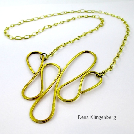 Dangerous Curves Wire & Chain Necklace - tutorial by Rena Klingenberg