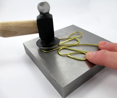 Hammer-flattening wire for Dangerous Curves Wire & Chain Necklace - tutorial by Rena Klingenberg