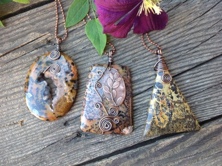 Copper wrapped pendants