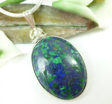 Malachite In Lapis Lazuli Gemstone Pendant
