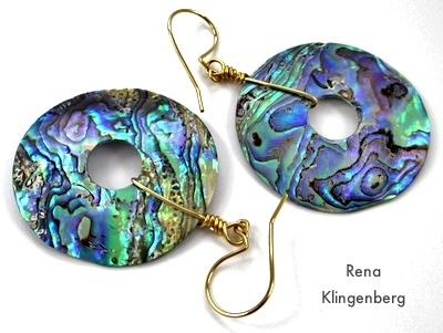 Paua Shell and 14kgf Earrings by Rena Klingenberg