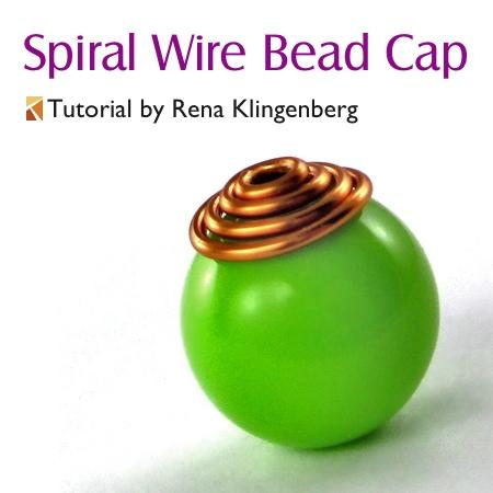 Spiral Wire Bead Cap - tutorial by Rena Klingenberg