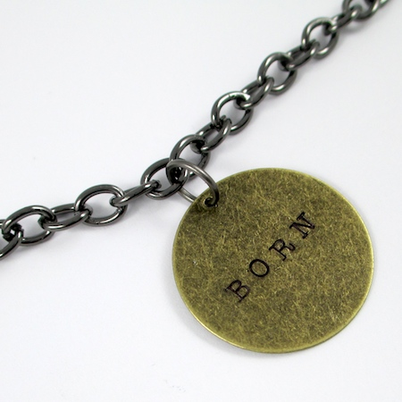 Attaching word charm to chain for Stamped Quote Charm Bracelet - tutorial by Rena Klingenberg
