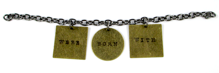 Attaching word charms to Stamped Quote Charm Bracelet - tutorial by Rena Klingenberg