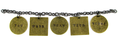 Word charms attached to Stamped Quote Charm Bracelet - tutorial by Rena Klingenberg