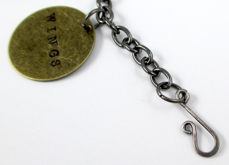 Attaching clasp to Stamped Quote Charm Bracelet - tutorial by Rena Klingenberg