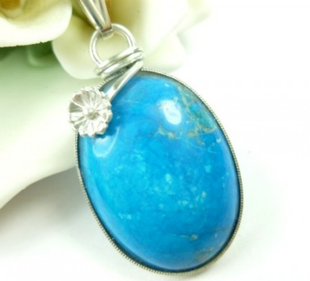 Turquoise Howlite Sterling Pendant