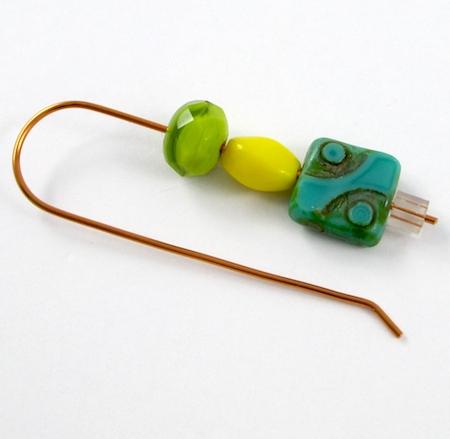 Add earring stopper below beads - Changeable Bead Earrings - tutorial by Rena Klingenberg