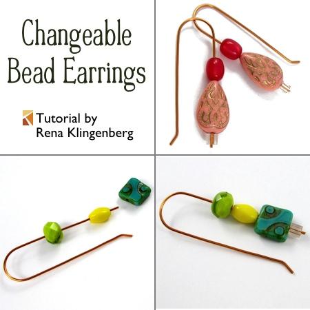 Changeable Bead Earrings - tutorial by Rena Klingenberg