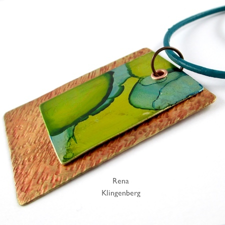 Leather cord on Easy Riveted Pendant - tutorial by Rena Klingenberg