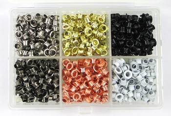 Box of metal eyelets for Easy Riveted Pendant - tutorial by Rena Klingenberg