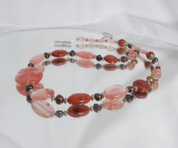 Coral and Quartz Handmade Necklace