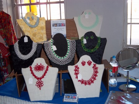 Tatted Necklaces on handmade display forms