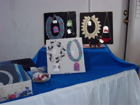 Tatted Necklaces on fabric covered display boards