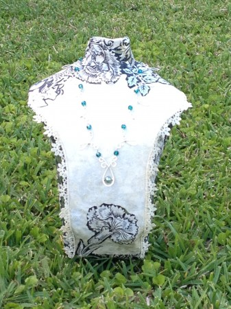 Handmade Jewelry display bust, with Lace