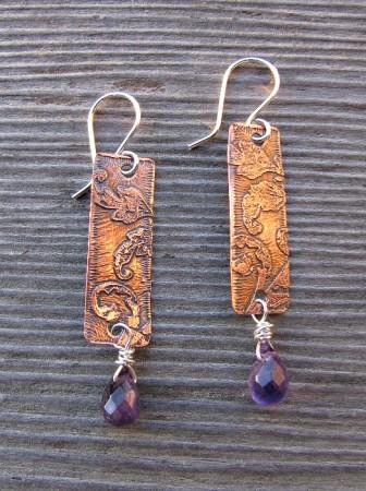 amethyst copper pendant earrings