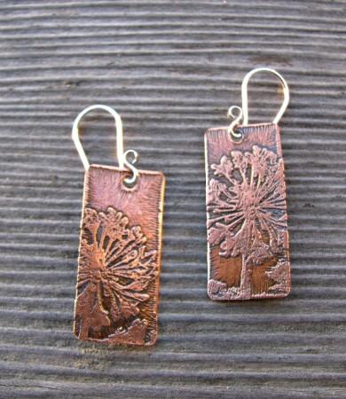 dandelion etched copper earrings
