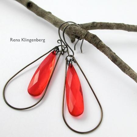 Teardrop Window Earrings - tutorial by Rena Klingenberg