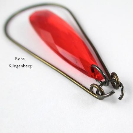 Thread jump ring through loops - Teardrop Window Earrings - tutorial by Rena Klingenberg