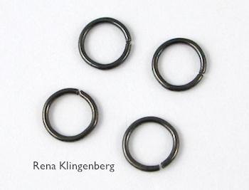 Jump rings for Teardrop Window Earrings - tutorial by Rena Klingenberg