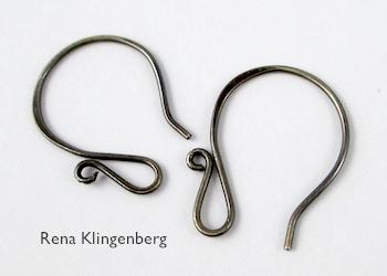 Earwires for Teardrop Window Earrings - tutorial by Rena Klingenberg