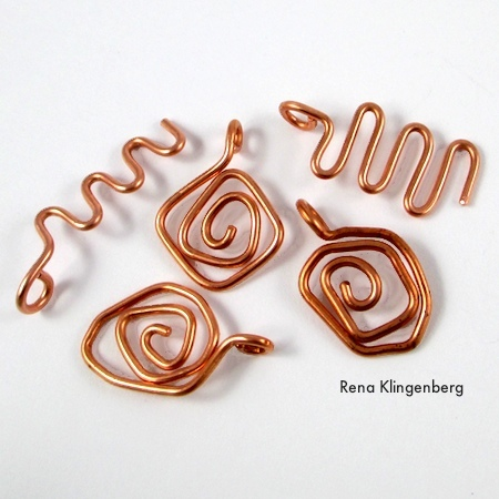 "Primitive ""sun and sea"" wire charms for Wire Charm Wrap Anklet - tutorial by Rena Klingenberg"