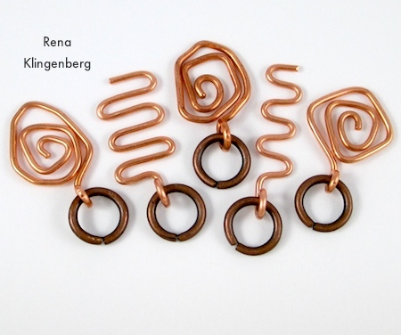 Wire charms with jump rings - for Wire Charm Wrap Anklet - tutorial by Rena Klingenberg