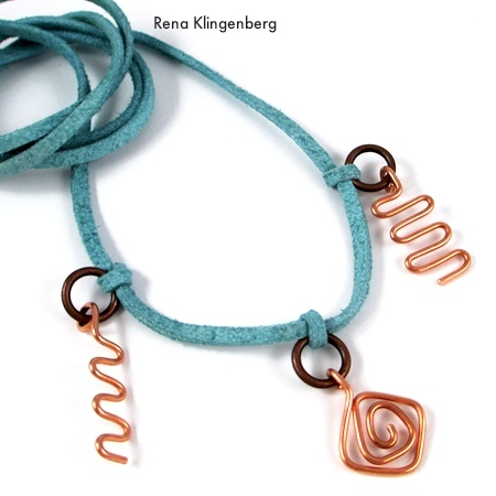 Three charms added to Wire Charm Wrap Anklet - tutorial by Rena Klingenberg
