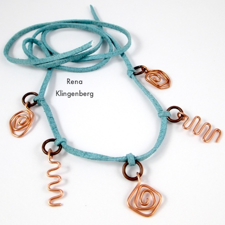 Five charms added to Wire Charm Wrap Anklet - tutorial by Rena Klingenberg