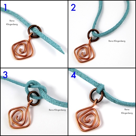 Fastening wire charm to cord for Wire Charm Wrap Anklet - tutorial by Rena Klingenberg