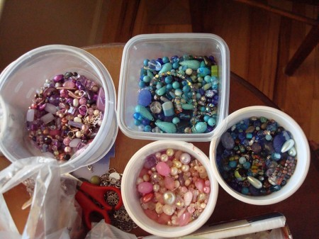 Containers of leftover beads