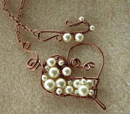 Custom Copper & Cream Pendant