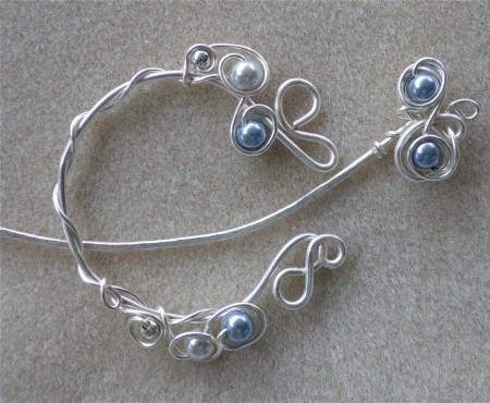 Pale Blue & Silver Shawl Pin