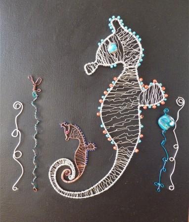 Wire Seahorse & Baby