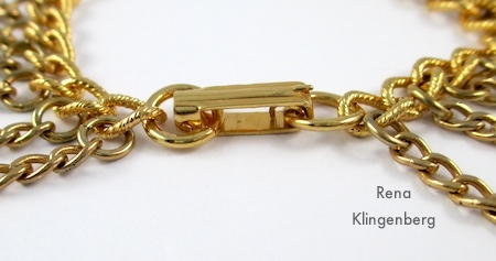 Fastened clasp on bracelet - Roaring 1920s Flapper Fringe Jewelry - tutorial by Rena Klingenberg