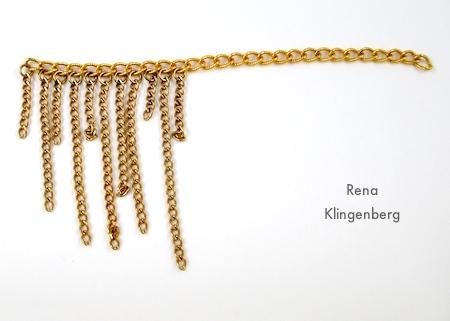 Adding more chain fringe - Roaring 1920s Flapper Fringe Jewelry - tutorial by Rena Klingenberg