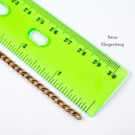 Measuring chain for fringe - Roaring 1920s Flapper Fringe Jewelry - tutorial by Rena Klingenberg