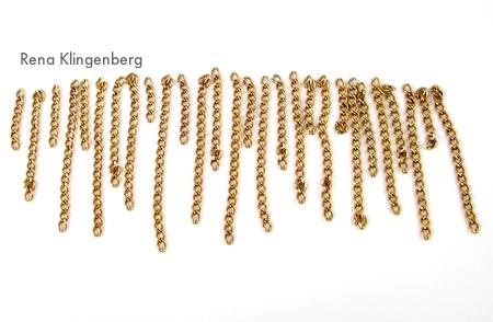 Alternating chain fringe sizes - Roaring 1920s Flapper Fringe Jewelry - tutorial by Rena Klingenberg