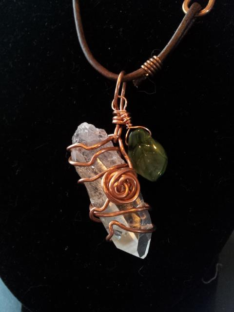 Copper Rosebud & Crystal Pendant