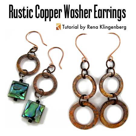 Rustic Copper Washer Earrings - tutorial by Rena Klingenberg