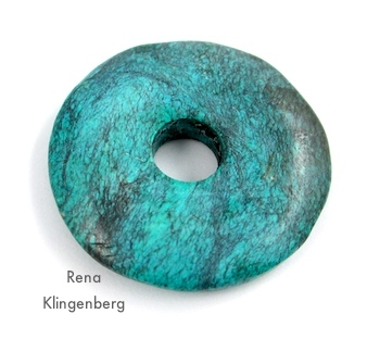 Donut bead for Southwestern Lariat Necklace - tutorial by Rena Klingenberg