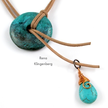 Attach briolette to cord end for Southwestern Lariat Necklace - tutorial by Rena Klingenberg