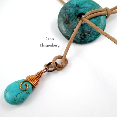Tying a overhand knot for Southwestern Lariat Necklace - tutorial by Rena Klingenberg