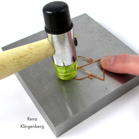 Hammering- hardening wire pendant - Wire Angel Pendant - tutorial by Rena Klingenberg