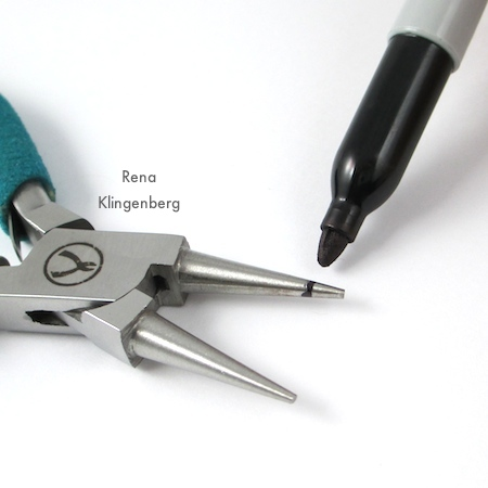 Marking pliers for Wire Angel Pendant - tutorial by Rena Klingenberg