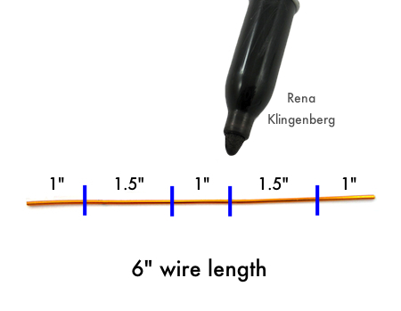 Measuring and marking wire for Wire Angel Pendant - tutorial by Rena Klingenberg