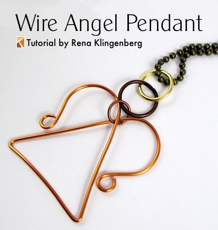 Wire Angel Pendant - tutorial by Rena Klingenberg
