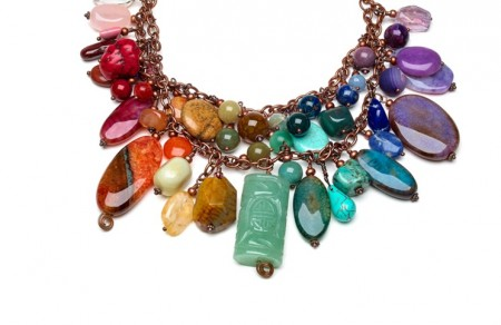My Chunky Rainbow Gemstone necklace from the Bead Style magazine July 2014 cover (Photo (c) James Forbes)